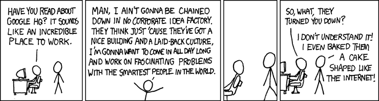 Comic from xkcd Working for Google