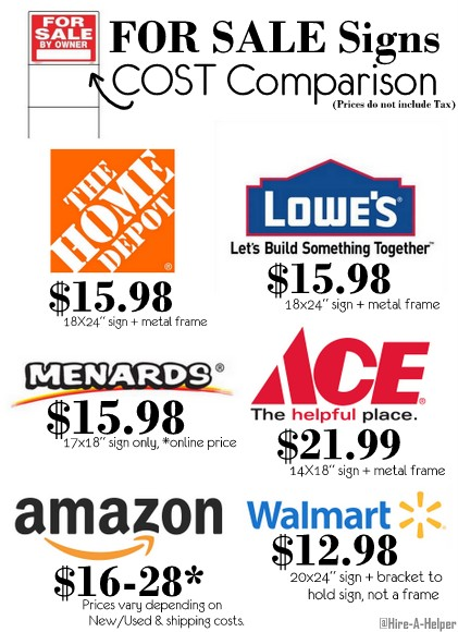 for sale sign cost comparison home depot lowes ace etc