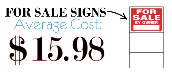 Average For Sale Signs Cost is $15.98