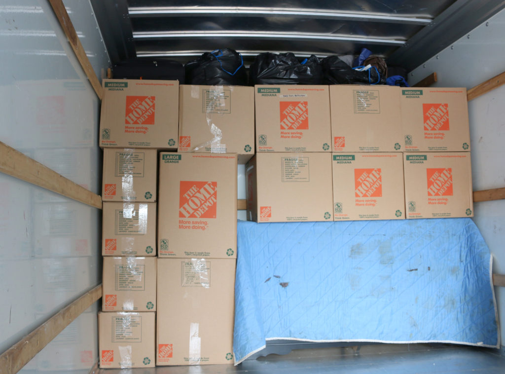 Boxes Organized in Truck