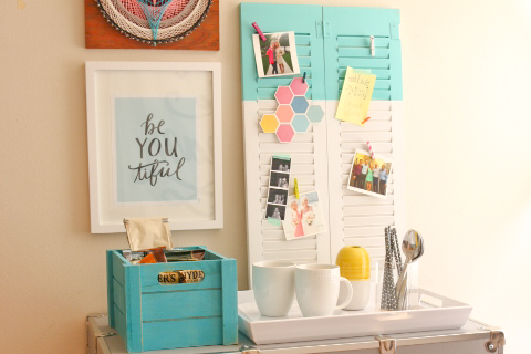 Dorm Room Ideas: DIY Room Decor - Shutter Bulletin Board