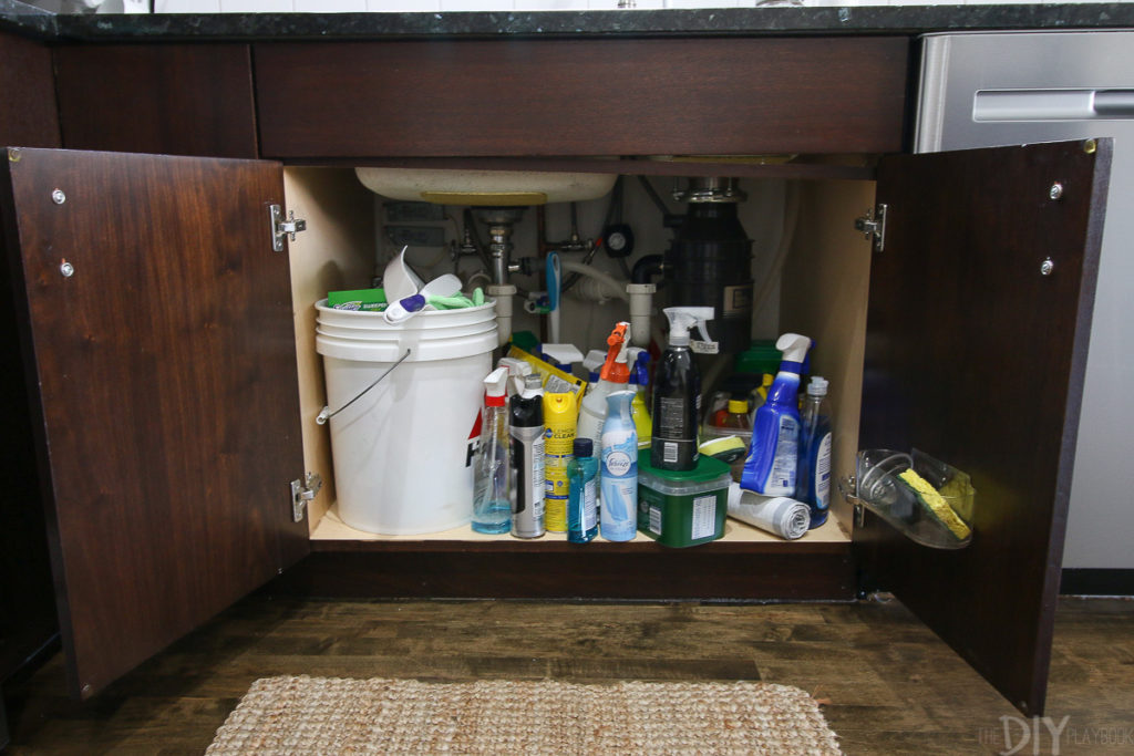 Lifehack get the stuff under the kitchen sink organized with this underneath the kitchen sink is definitely one of those disorganized spaces how can you own so many cleaning supplies and yet the one place that stores workwithnaturefo